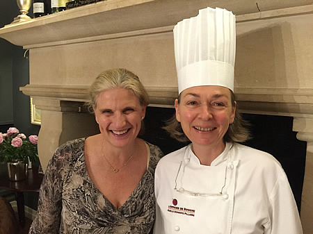 Margaret thanking our private chef for the excellent Farewell Dinner at the June 2016 Grand Cru Tour