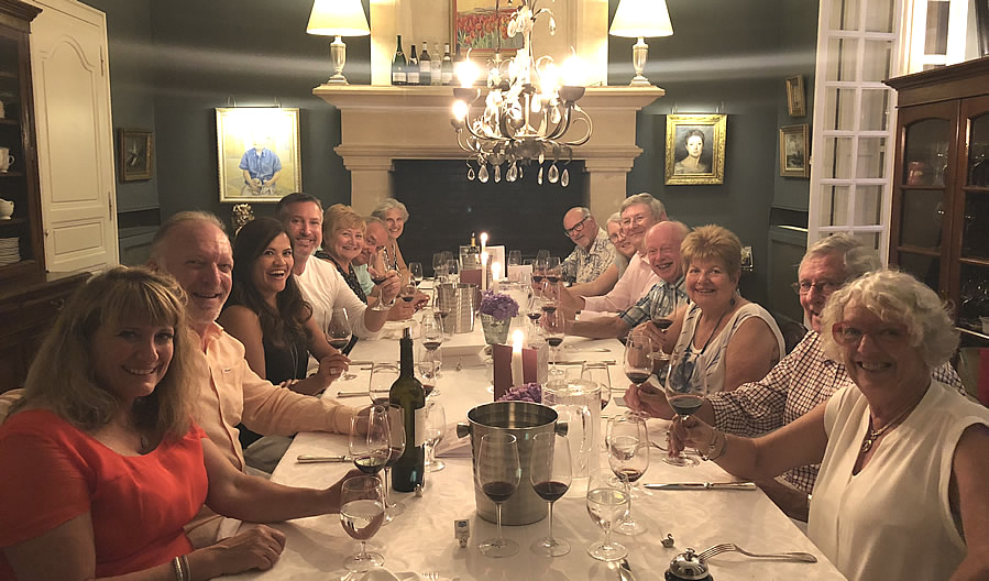 The Grand Tour enjoying First Growths at the Farewell dinner at Chateau Coulon Laurensac