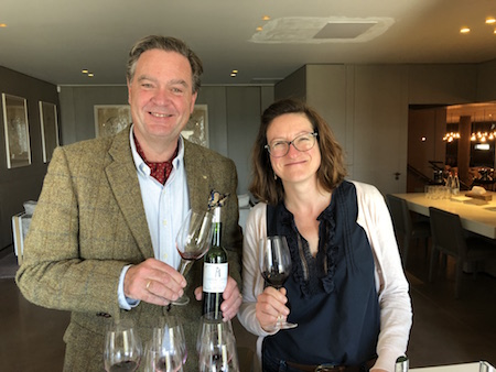 Ronald tasting Latour with Hélène Génin, the technical director