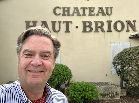 Ronald tasting Haut Brion 2018 at the Chateau
